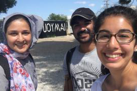 Team members Ramah Award, Jerry Philip and Sarrah Nomanbhoy at the Ritsona Refugee camp on mainland Greece