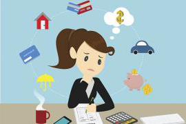 Graphic of a woman sitting at a desk with pen and paper worrying about money