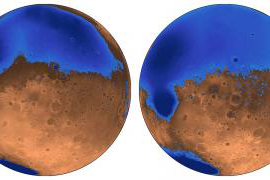 Illustration of early ocean in Mars called Arabia, along with orange land