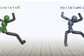 "Two ""virtual stuntmen"", the left being a blue ""simulation"" stuntman and the right being a green ""reference"" stuntman. Both are leaping in the air"