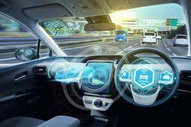 Holographic images are superimposed over an illustration of a car dashboard.