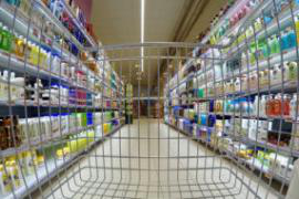 shopping cart view of product aisle in store