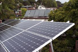 A solar energy panel on a rooftop in Berkeley, California