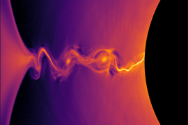 Image - This visualization of a general-relativistic collisionless plasma simulation shows the density of positrons near the event horizon of a rotating black hole. Plasma instabilities produce island-like structures in the region of intense electric current. (Credit: Kyle Parfrey et al./Berkeley Lab)