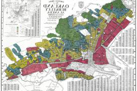 A historical redlining map of Oakland, Berkeley and Alameda neighborhoods