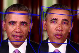 Two photos of President Obama are side-by-side. They have blue boxes and red dots over his face.