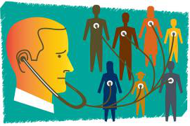 Graphic of a doctor and his patients