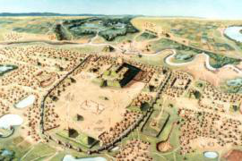Painting of Cahokia by William R. Iseminger, courtesy of Cahokia Mounds Historic State Site.