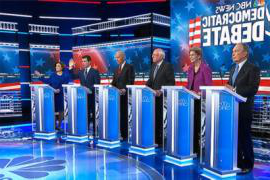 Six Democratic candidates were on the stage in Las Vegas, Nevada, on Wednesday Feb. 19 for a debate before the Nevada Democratic caucuses. From left to right: Former New York City Mayor Michael Bloomberg; U.S. Sen. Elizabeth Warren of Massachusetts; U.S. Sen. Bernie Sanders of Vermont; former Vice President Joe Biden; former South Bend, Ind., Mayor Pete Buttigieg; and U.S. Sen. Amy Klobuchar of Minnesota. The event was organized by NBC-TV.