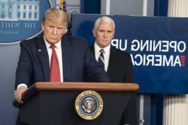 Vice President Mike Pence and President Donald Trump at a White House press briefing