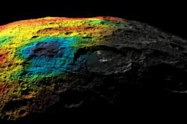 photo of dwarf planet Ceres with craters and rainbow colors