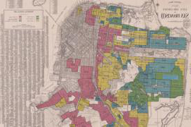 A historical map of San Francisco in which each neighborhood has been shaded in red, yellow or green according to its 家 Owners' Loan Corp. investment rating