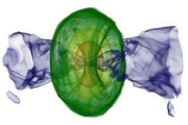 computer simulation of merger of two neutron stars with purple cones on either side of green concentric circles